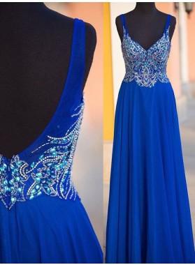 LadyPromDress 2018 Blue Beading Straps Chiffon Prom Dresses