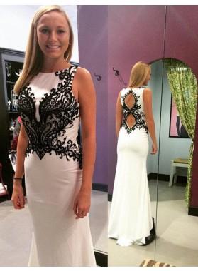 2019 Unique White Appliques Round Neck Prom Dresses