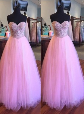 Beading Sweetheart Floor-Length/Long A-Line/Princess Tulle Prom Dresses