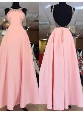 Open Back Beading A-Line/Princess Satin Prom Dresses