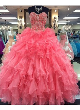 2018 Glamorous Pink Sweetheart Beading Ball Gown Organza Prom Dresses