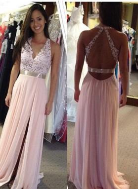 Halter Backless Appliques Split Front A-Line/Princess Chiffon Prom Dresses
