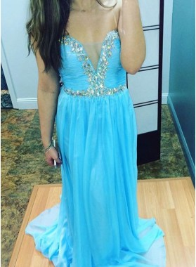 LadyPromDress 2019 Blue Crystal Detailing Column/Sheath Chiffon Prom Dresses