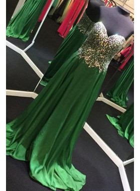 Sexy Beading A-Line/Princess Stretch Satin Prom Dresses