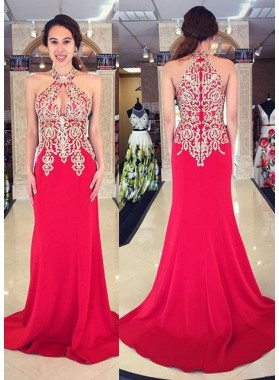 2019 Gorgeous Red Prom Dresses Sleeveless Appliques Sweep Train Mermaid/Trumpet