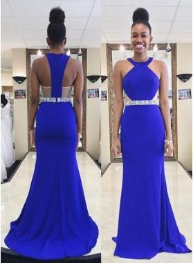 LadyPromDress 2018 Blue Beading Zipper Sweep Train Column/Sheath Prom Dresses