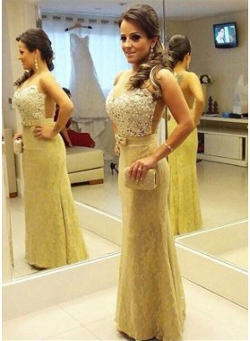 Beading Appliques Sweetheart Mermaid/Trumpet Lace Gold Prom Dresses