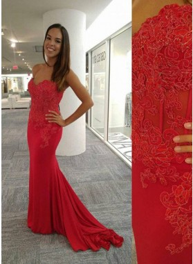 2019 Gorgeous Red Appliques Mermaid/Trumpet Stretch Satin Prom Dresses