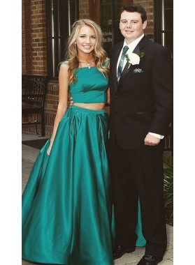 New Arrival Princess/A-Line Satin Jade Two Pieces Prom Dresses