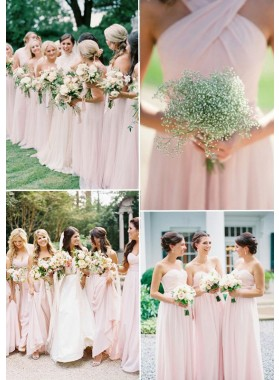2019 Cheap A Line Blushing Pink Chiffon Long Bridesmaid Dresses / Gowns