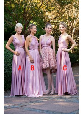 2020 Gorgeous A Line Pink Chiffon V Halter Long Bridesmaid Dresses / Gowns