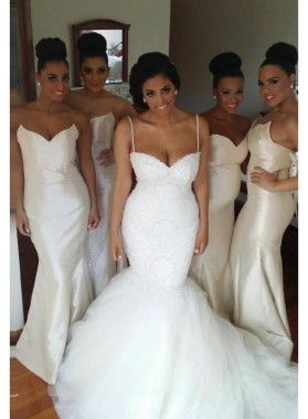 2021 Elegant Mermaid White Satin Strapless Long Bridesmaid Dresses / Gowns