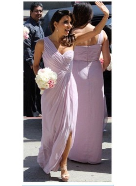 2021 Cheap A Line Lavender One Shoulder Chiffon Ruffles Long Bridesmaid Dresses / Gowns