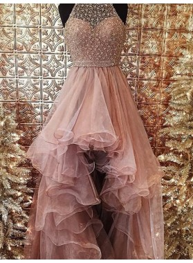 2019 Glamorous Pink Beading Layers Asymmetrical Tulle Prom Dresses