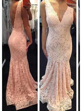 V-Neck Backless Mermaid/Trumpet Lace 2019 Glamorous Pink Prom Dresses
