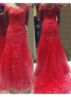 2018 Gorgeous Red Off-the-Shoulder Appliques Lace Up Tulle Prom Dresses