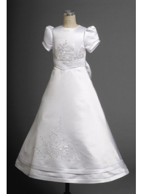 Refined White Satin Short Sleeves Scoop Neck Short Sleeves A-line Floor Length First Communion Dresses