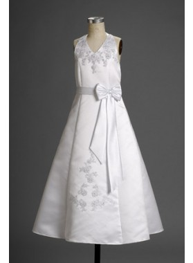 2020 Appealing Satin Halter Applique Long Actual First Communion Dresses / Flower Girl Dresses