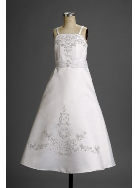 Lovely White Embroider Satin Spaghetti Straps A-line Floor Length First Communion Dresses