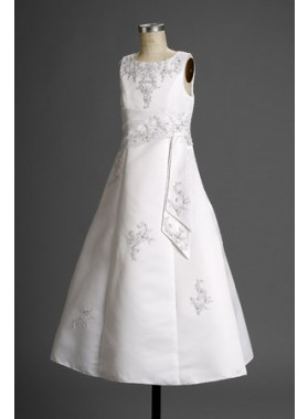 2019 Hot Sale Refined Satin Scoop Neck Sleeveless A-line Floor Length Actual First Communion Dresses