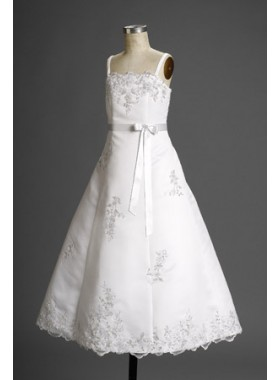 2019 Exquisite Satin Straps Applique Floor Length Actual First Communion Dresses
