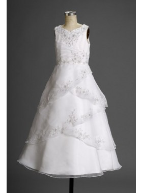 Charming Latest Straps Layered  V-neck Empire Waist Applique Actual First Communion Dresses