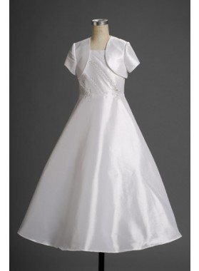 2020 Gentle A-line Satin Applique Floor Length Actual First Communion Dresses