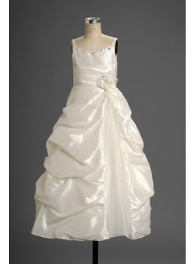 2020 Winsome White Spaghetti Straps  Princess Applique Pleated Actual First Communion Dresses