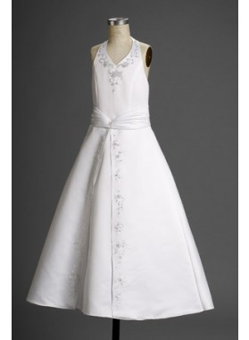 Stunning A-line Satin Halter Applique Floor Length  2020 First Communion Dresses / Flower Girl Dresses