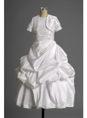 2021 First-rate Fashion Lovely Princess Taffeta Ruffled Actual First Communion Dresses