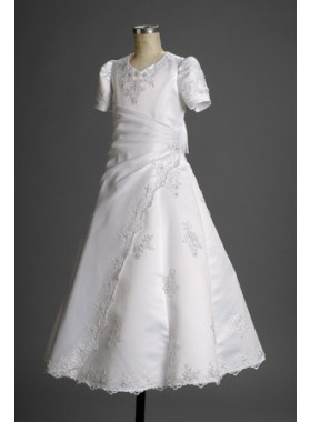 Glamorous A-line Best Selling White Floor Length Applique 2019 Hot First Communion Dresses