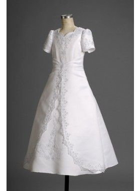 Charming Latest Fashion White Short Sleeves Long Actual First Communion Dresses