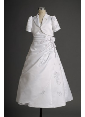 Refined White Princess Applique Floor Length Actual First Communion Dresses