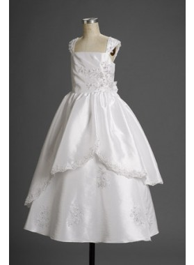 2020 Flattg A-line Taffeta White Applique Charming Actual Flower Girl Dresses / First Communion Dresses