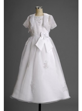 2020 Vogue Fashion Latest Short Sleeves Applique Floor Length Flower Dress  / First Communion Dresses