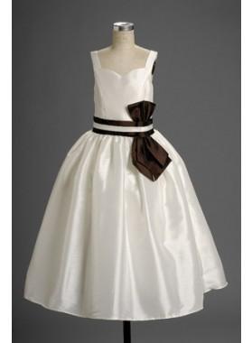 Cute A-line White s Sweetheart Straps Sash Cheap Actual First Communion Dresses