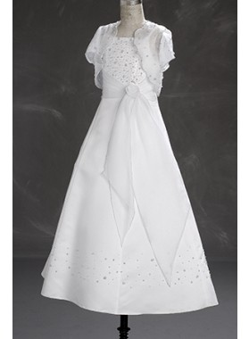 2019 Graceful A-line Cheap White Long Actual First Communion Dresses