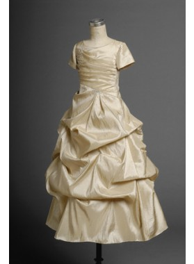 2020 Glamorous Champagne Short Sleeves Taffeta A-line Pleated Floor Length First Communion Dresses