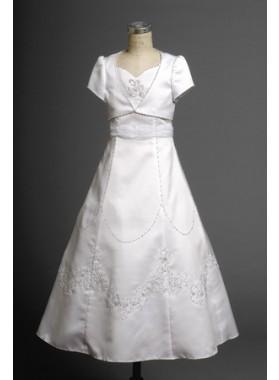 2020 Satin Seductive Flower Girl Dress Floor Length A-line Applique  First Communion Dresses