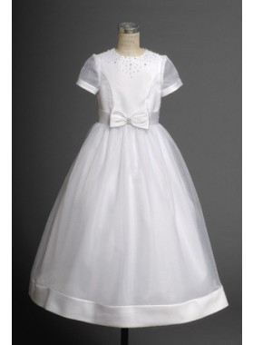 Cost-efficient Cheap Cute Short Sleeves A-line Organza Hottest Flower Girl Dress 2020