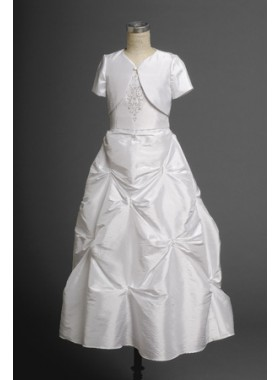 Gentle Fashion Taffeta White Best Selling Actual First Communion Dresses