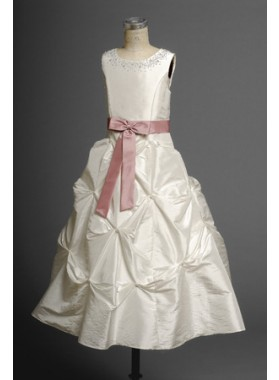 Charming Hot Sale A-line Taffeta White Sash Actual First Communion Dresses