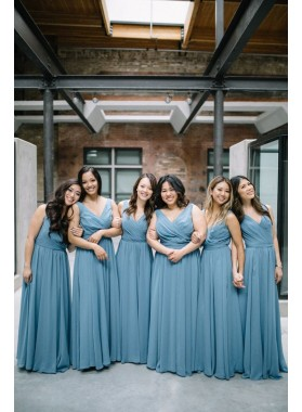 2020 Newly A Line Chiffon V Neck Bridesmaid Dresses