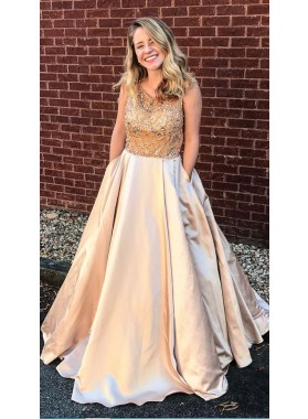 2019 Siren Satin Champagne Princess/A-Line Prom Dresses