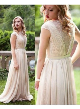 Floor-Length/Long Natural Waist Sleeveless A-Line/Princess Chiffon Prom Dresses