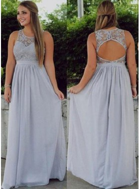 Backless Natural  Floor-Length/Long Lace A-Line/Princess Chiffon Silver Prom Dresses