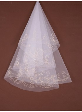 Attractive 2 Layer Waltz With Embroidery Wedding Veil
