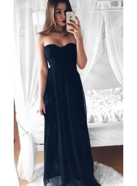 2019 Cheap Chiffon Princess/A-Line Sweetheart Black Prom Dresses