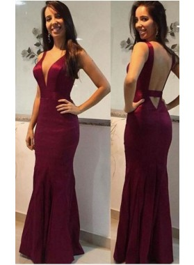 Alluring Column/Sheath Satin Sweetheart Burgundy Prom Dresses