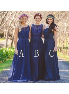 2021 Cheap A Line Chiffon Royal Blue Long Bridesmaid Dresses / Gowns